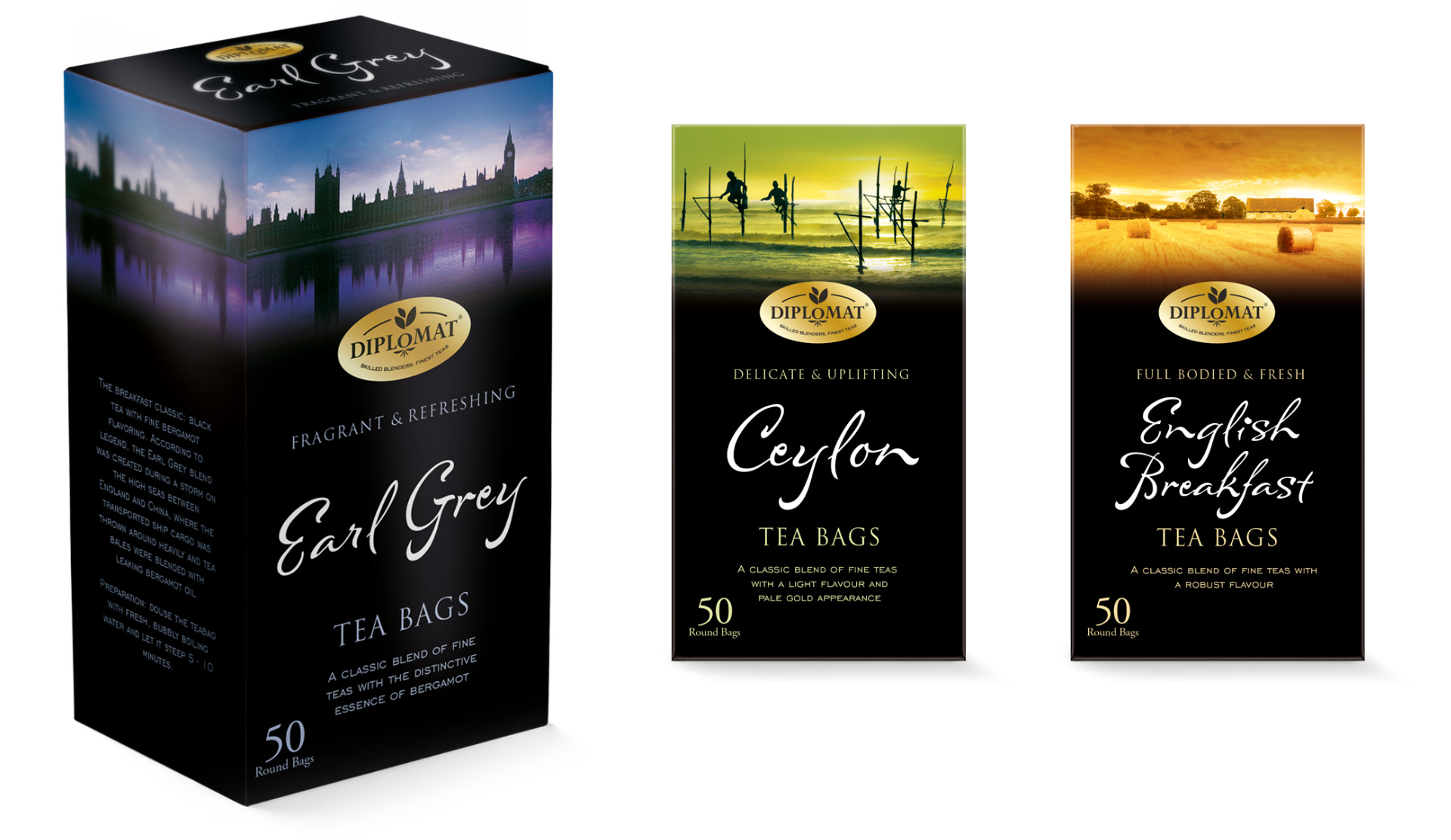 Diplomat tea bag packaging design by Louise Russell Design