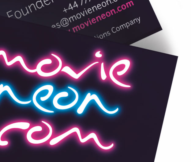 Movie Neon Business Card Design By Louise Russell Design