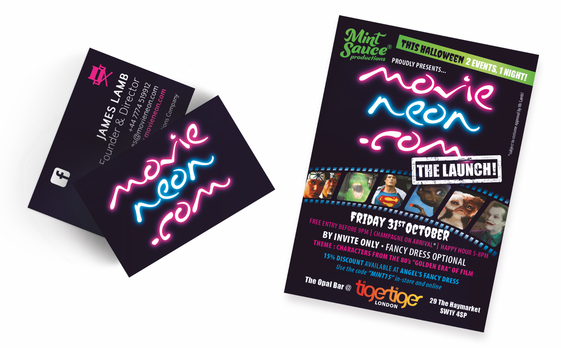 Movie Neon Business Card And Poster By Louise Russell Design
