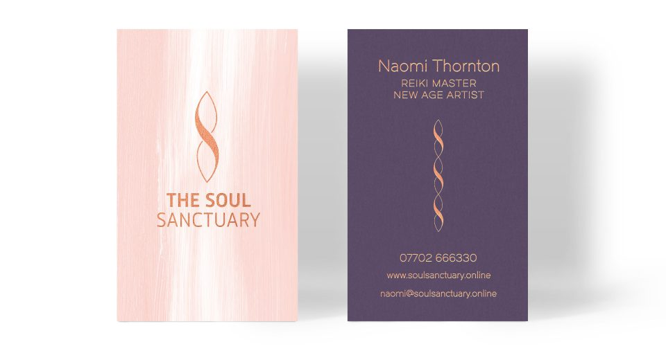 The Soul Sanctuary business card design by Louise Russell Design