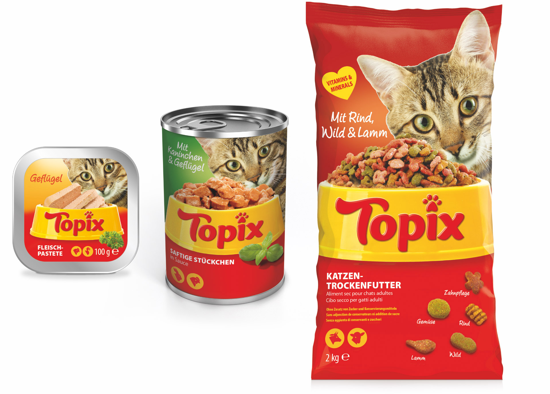 Topix cat food packaging design by Louise Russell Design